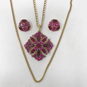 Vintage Pink Rhinestone Long Necklace & Earrings